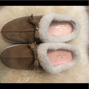 Kate Spade Sherpa lined slippers size 10 GUC